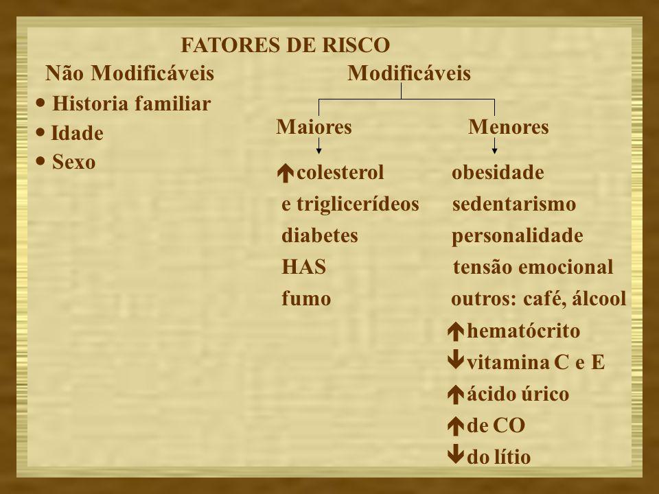 Não Modificáveis Historia familiar Idade Sexo Modificáveis MaioresMenores colesterol obesidade e triglicerídeos sedentarismo diabetes personalidade HA