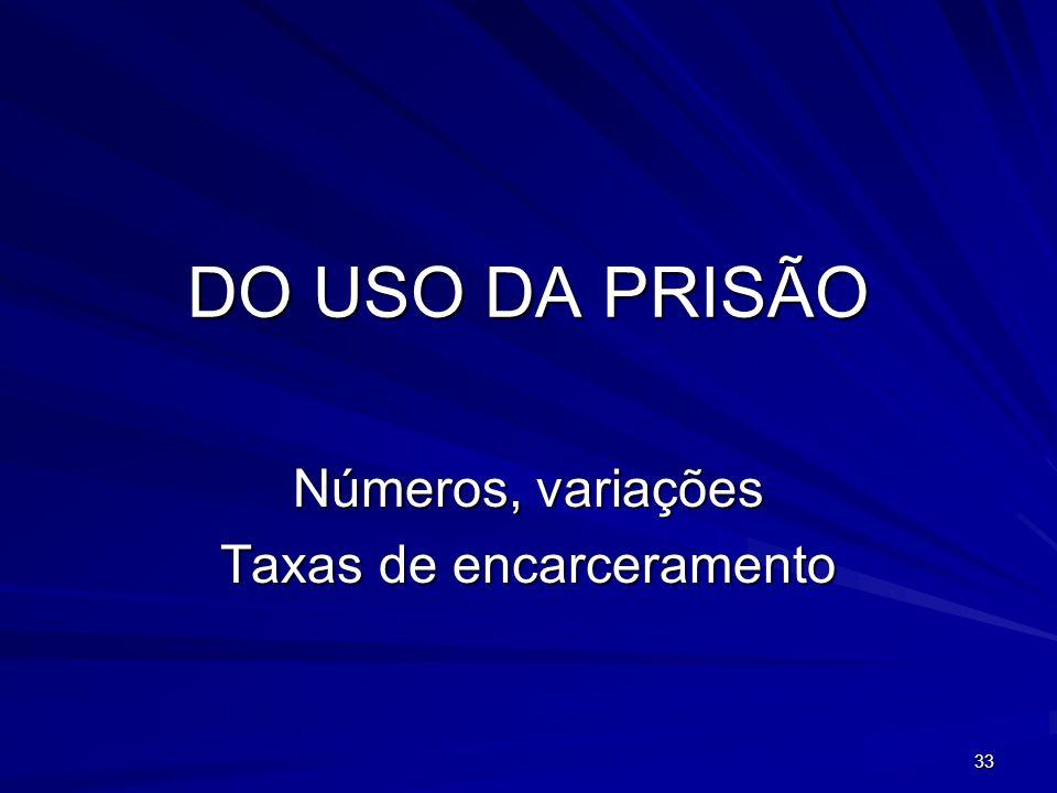 33 DO USO DA PRISÃO Números, variações Taxas de encarceramento