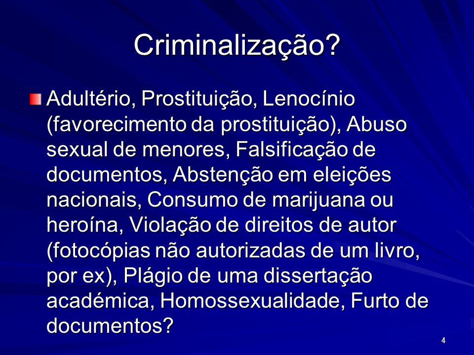 Criminalização? Adultério, Prostituição, Lenocínio (favorecimento da prostituição), Abuso sexual de menores, Falsificação de documentos, Abstenção em