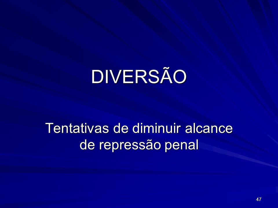 DIVERSÃO Tentativas de diminuir alcance de repressão penal 47