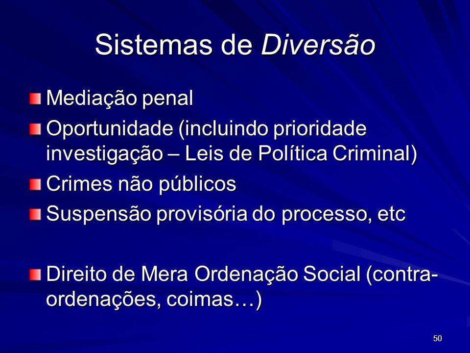 50 Sistemas de Diversão Mediação penal Oportunidade (incluindo prioridade investigação – Leis de Política Criminal) Crimes não públicos Suspensão prov