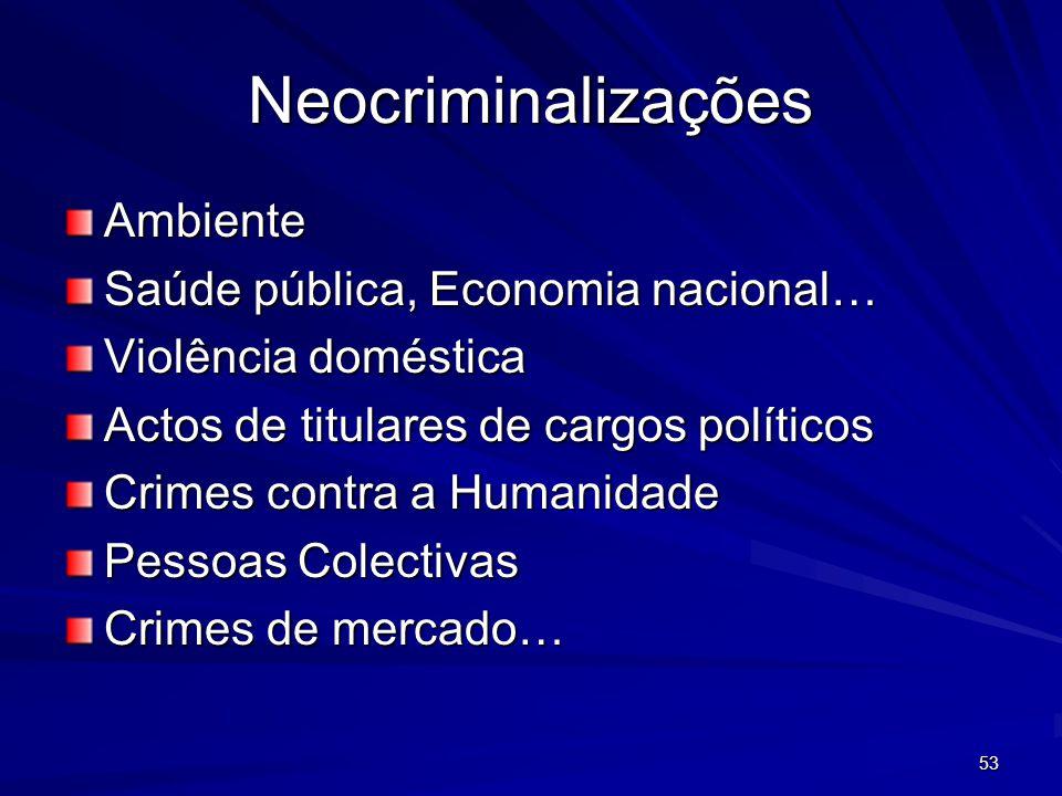 Neocriminalizações Ambiente Saúde pública, Economia nacional… Violência doméstica Actos de titulares de cargos políticos Crimes contra a Humanidade Pessoas Colectivas Crimes de mercado… 53