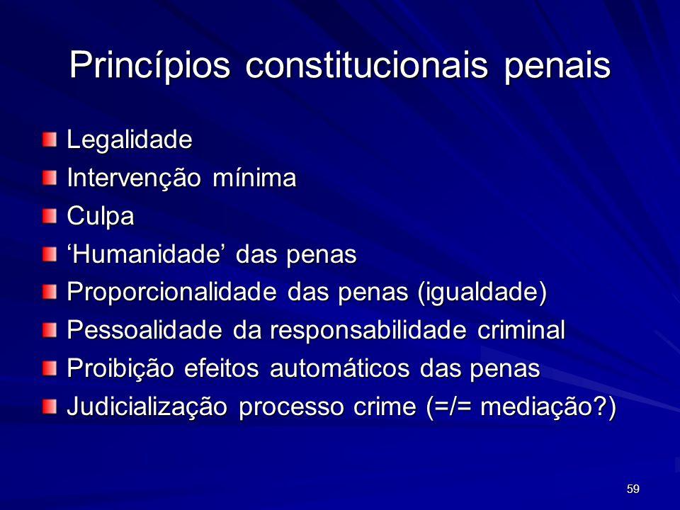 59 Princípios constitucionais penais Legalidade Intervenção mínima Culpa Humanidade das penas Proporcionalidade das penas (igualdade) Pessoalidade da responsabilidade criminal Proibição efeitos automáticos das penas Judicialização processo crime (=/= mediação?)