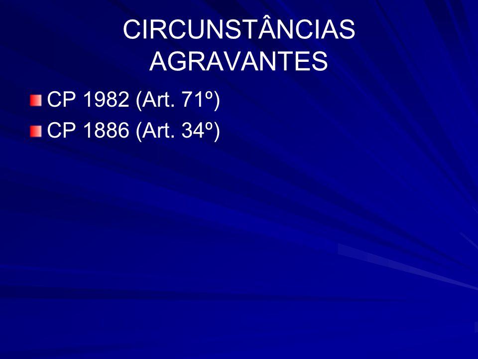 CIRCUNSTÂNCIAS AGRAVANTES CP 1982 (Art. 71º) CP 1886 (Art. 34º)