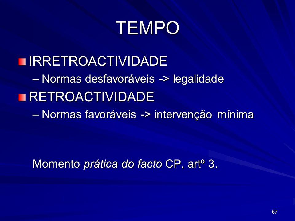 67 TEMPO IRRETROACTIVIDADE –Normas desfavoráveis -> legalidade RETROACTIVIDADE –Normas favoráveis -> intervenção mínima Momento prática do facto CP, a