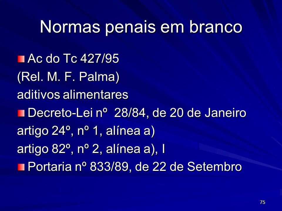 75 Normas penais em branco Ac do Tc 427/95 (Rel.M.