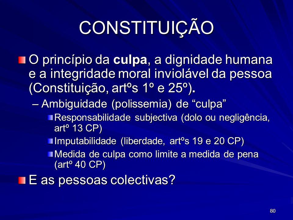 80 CONSTITUIÇÃO O princípio da culpa, a dignidade humana e a integridade moral inviolável da pessoa (Constituição, artºs 1º e 25º).