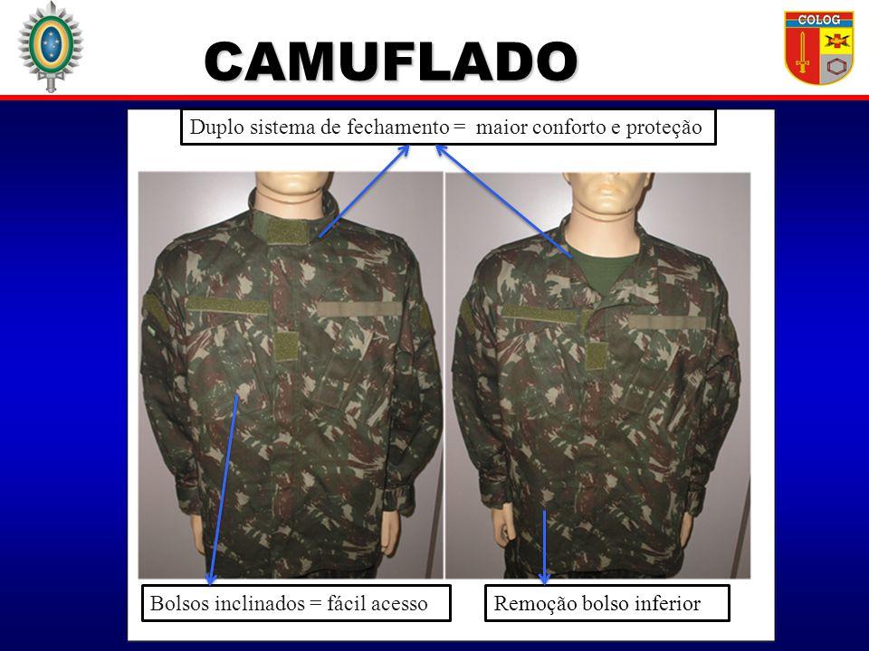 CAMUFLADO Duplo sistema de fechamento = maior conforto e proteção Bolsos inclinados = fácil acessoRemoção bolso inferior
