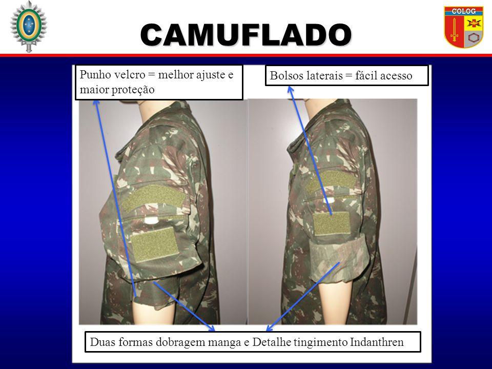 CAMUFLADO Punho velcro = melhor ajuste e maior proteção Bolsos laterais = fácil acesso Duas formas dobragem manga e Detalhe tingimento Indanthren