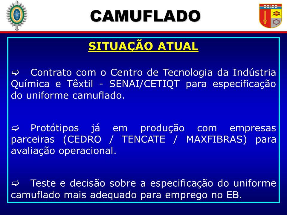 CAMUFLADO SITUAÇÃO ATUAL Contrato com o Centro de Tecnologia da Indústria Química e Têxtil - SENAI/CETIQT para especificação do uniforme camuflado. Pr
