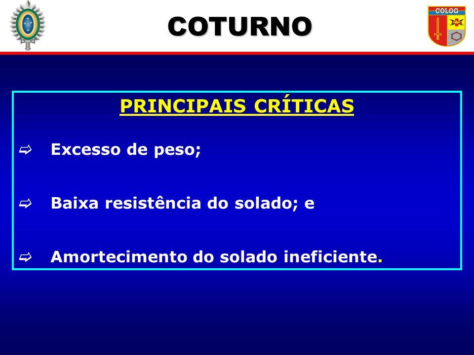 COTURNO PRINCIPAIS CRÍTICAS Excesso de peso; Baixa resistência do solado; e Amortecimento do solado ineficiente.
