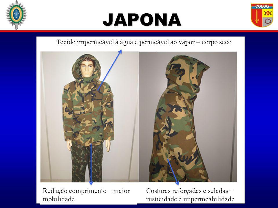 JAPONA JAPONA Redução comprimento = maior mobilidade Tecido impermeável à água e permeável ao vapor = corpo seco Costuras reforçadas e seladas = rusti