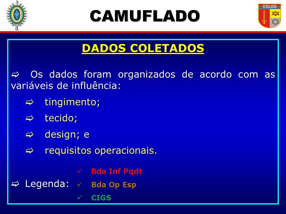 CAMUFLADO DADOS COLETADOS Os dados foram organizados de acordo com as variáveis de influência: Os dados foram organizados de acordo com as variáveis d