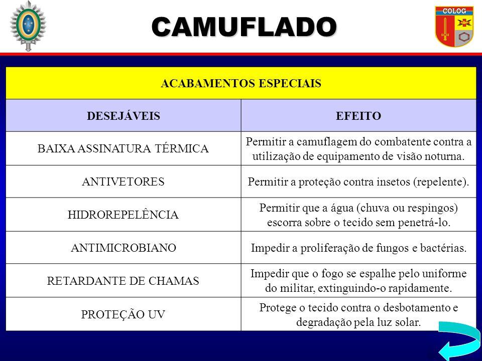 CAMUFLADO ACABAMENTOS ESPECIAIS DESEJÁVEISEFEITO BAIXA ASSINATURA TÉRMICA Permitir a camuflagem do combatente contra a utilização de equipamento de vi