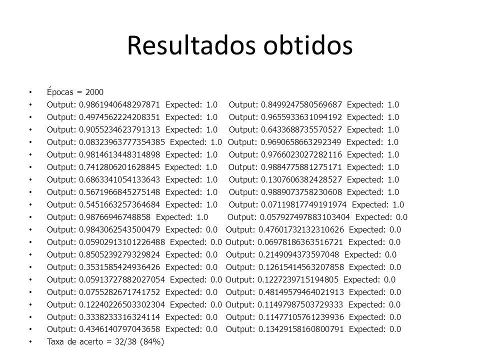 Resultados obtidos Épocas = 2000 Output: 0.9861940648297871 Expected: 1.0 Output: 0.8499247580569687 Expected: 1.0 Output: 0.4974562224208351 Expected: 1.0 Output: 0.9655933631094192 Expected: 1.0 Output: 0.9055234623791313 Expected: 1.0 Output: 0.6433688735570527 Expected: 1.0 Output: 0.08323963777354385 Expected: 1.0 Output: 0.9690658663292349 Expected: 1.0 Output: 0.9814613448314898 Expected: 1.0 Output: 0.9766023027282116 Expected: 1.0 Output: 0.7412806201628845 Expected: 1.0 Output: 0.9884775881275171 Expected: 1.0 Output: 0.6863341054133643 Expected: 1.0 Output: 0.1307606382428527 Expected: 1.0 Output: 0.5671966845275148 Expected: 1.0 Output: 0.9889073758230608 Expected: 1.0 Output: 0.5451663257364684 Expected: 1.0 Output: 0.07119817749191974 Expected: 1.0 Output: 0.98766946748858 Expected: 1.0 Output: 0.057927497883103404 Expected: 0.0 Output: 0.9843062543500479 Expected: 0.0 Output: 0.47601732132310626 Expected: 0.0 Output: 0.05902913101226488 Expected: 0.0 Output: 0.06978186363516721 Expected: 0.0 Output: 0.8505239279329824 Expected: 0.0 Output: 0.2149094373597048 Expected: 0.0 Output: 0.3531585424936426 Expected: 0.0 Output: 0.12615414563207858 Expected: 0.0 Output: 0.05913727882027054 Expected: 0.0 Output: 0.1227239715194805 Expected: 0.0 Output: 0.0755282671741752 Expected: 0.0 Output: 0.48149579464021913 Expected: 0.0 Output: 0.12240226503302304 Expected: 0.0 Output: 0.11497987503729333 Expected: 0.0 Output: 0.3338233316324114 Expected: 0.0 Output: 0.11477105761239936 Expected: 0.0 Output: 0.4346140797043658 Expected: 0.0 Output: 0.13429158160800791 Expected: 0.0 Taxa de acerto = 32/38 (84%)