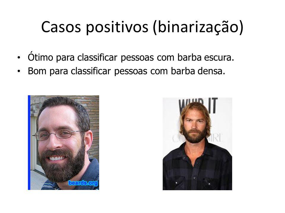 Casos positivos (binarização) Ótimo para classificar pessoas com barba escura. Bom para classificar pessoas com barba densa.