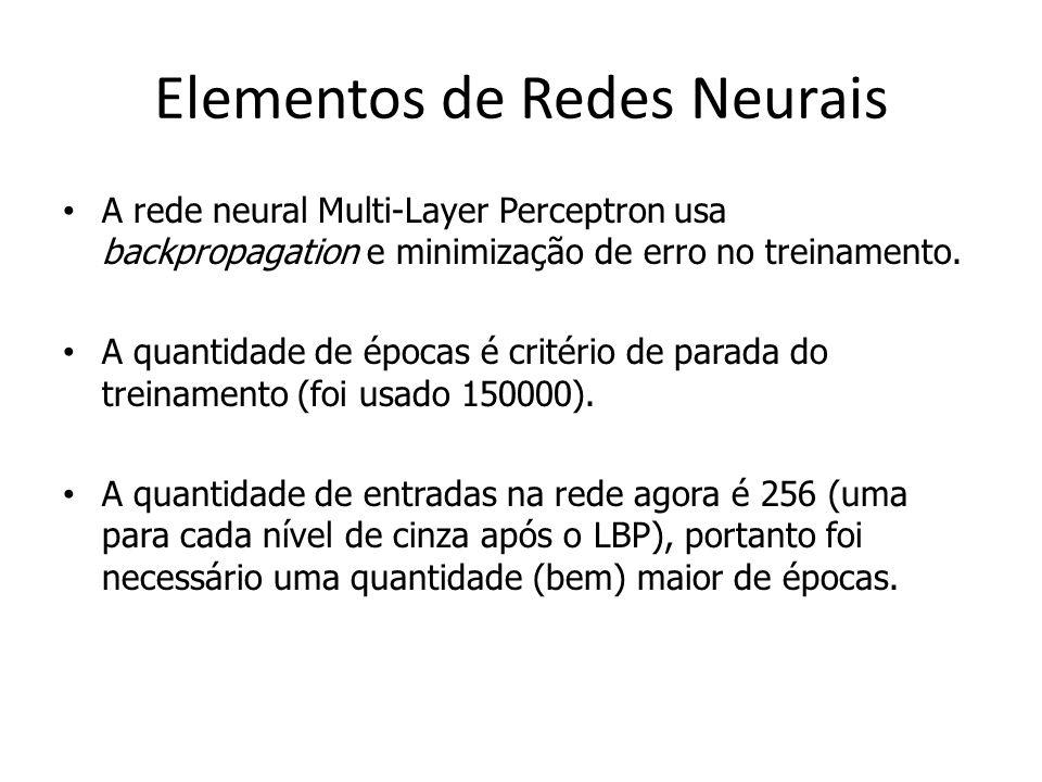 Elementos de Redes Neurais A rede neural Multi-Layer Perceptron usa backpropagation e minimização de erro no treinamento. A quantidade de épocas é cri