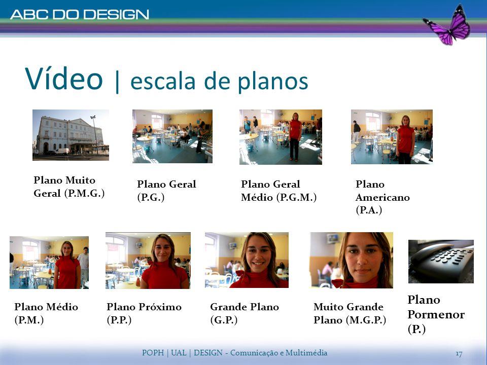 Vídeo   escala de planos POPH   UAL   DESIGN - Comunicação e Multimédia17 Plano Muito Geral (P.M.G.) Plano Geral Médio (P.G.M.) Plano Geral (P.G.) Pla