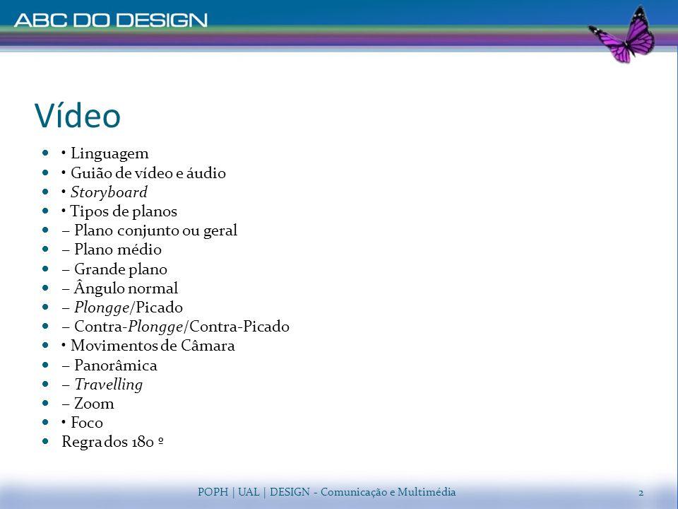 Vídeo Linguagem Guião de vídeo e áudio Storyboard Tipos de planos Plano conjunto ou geral Plano médio Grande plano Ângulo normal Plongge/Picado Contra