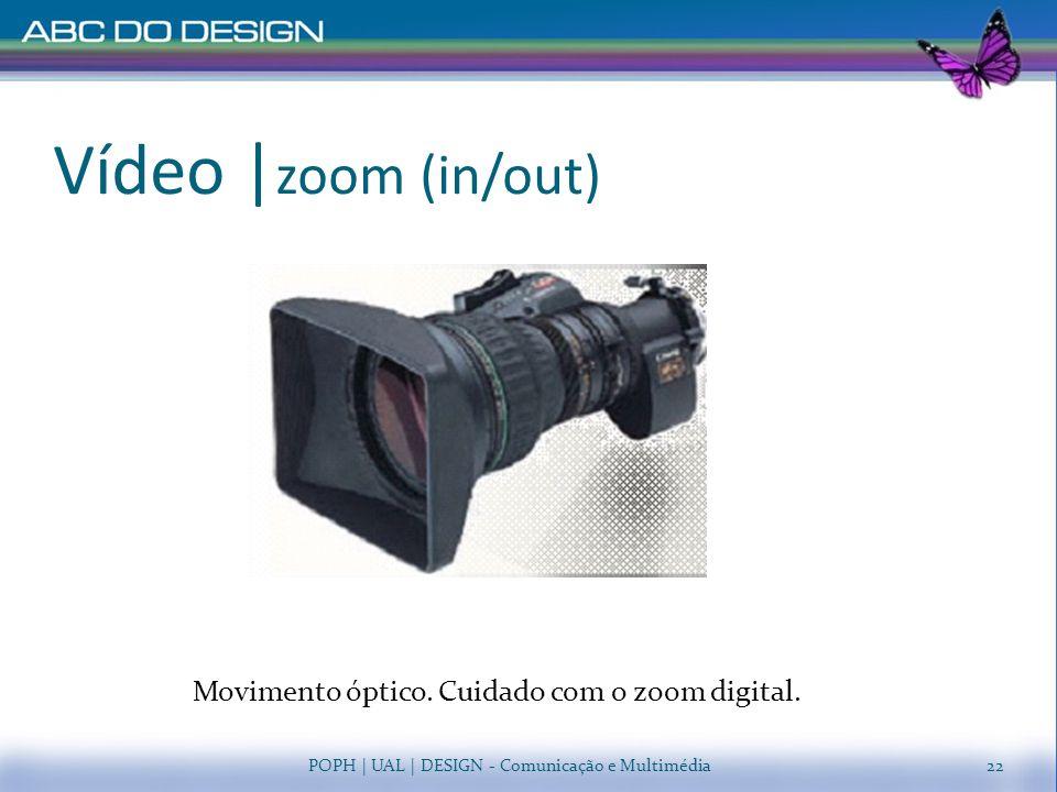 Vídeo   zoom (in/out) POPH   UAL   DESIGN - Comunicação e Multimédia Movimento óptico. Cuidado com o zoom digital. 22