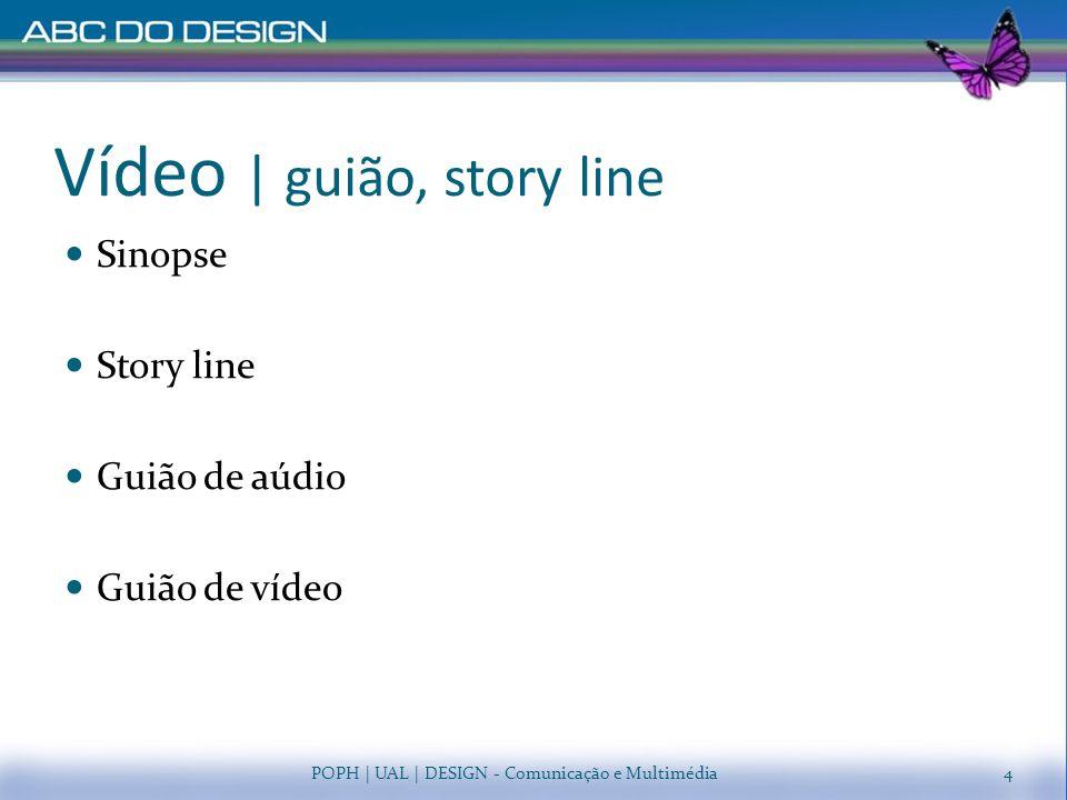 Vídeo   guião, story line Sinopse Story line Guião de aúdio Guião de vídeo POPH   UAL   DESIGN - Comunicação e Multimédia4