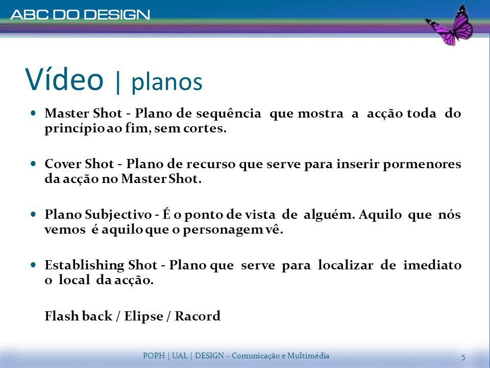 Vídeo | escala de planos Planos de acção Plano Muito Meral (P.M.G.) Plano Geral (P.G.) Plano Geral Médio (P.G.M.) / Plano Inteiro Plano Americano (P.A.) Plano Médio (P.M.) Planos de expressão Grande Próximo (P.P.) Grande Plano (G.P.) Muito Grande Plano (M.G.P.) Plano de Pormenor (P.) POPH | UAL | DESIGN - Comunicação e Multimédia6