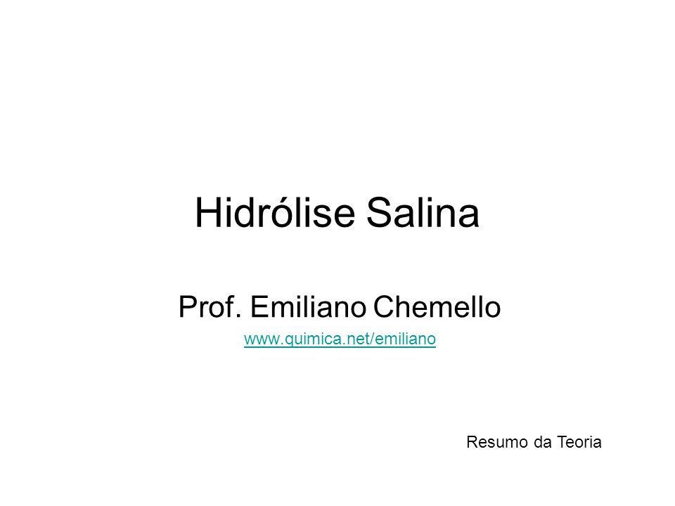 Hidrólise Salina Prof. Emiliano Chemello www.quimica.net/emiliano Resumo da Teoria