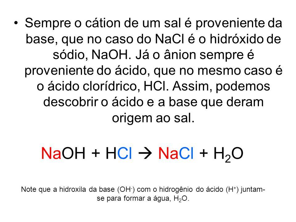 Sempre o cátion de um sal é proveniente da base, que no caso do NaCl é o hidróxido de sódio, NaOH. Já o ânion sempre é proveniente do ácido, que no me