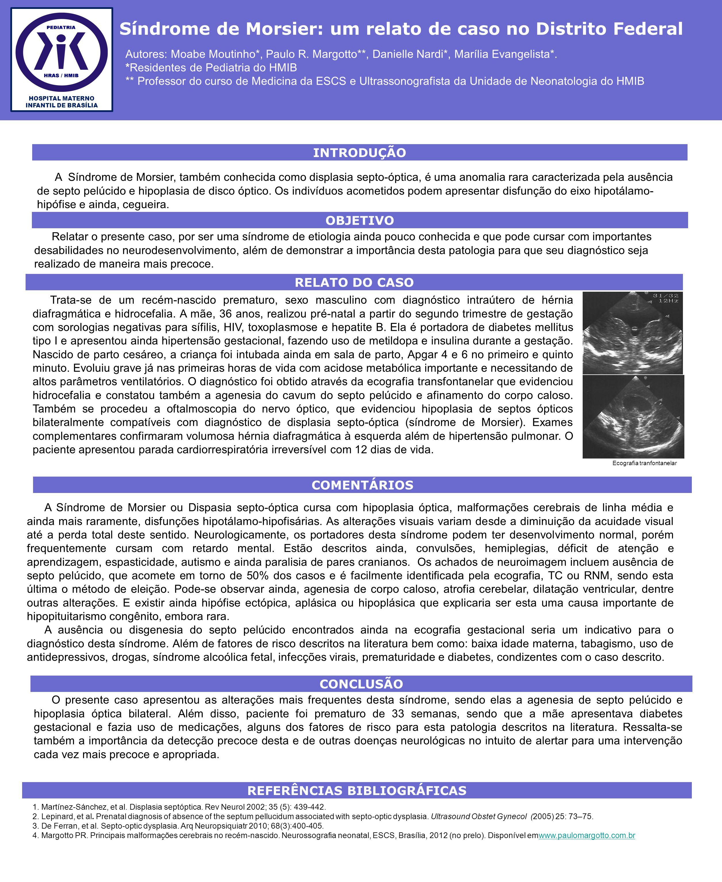 A Síndrome de Morsier, também conhecida como displasia septo-óptica, é uma anomalia rara caracterizada pela ausência de septo pelúcido e hipoplasia de