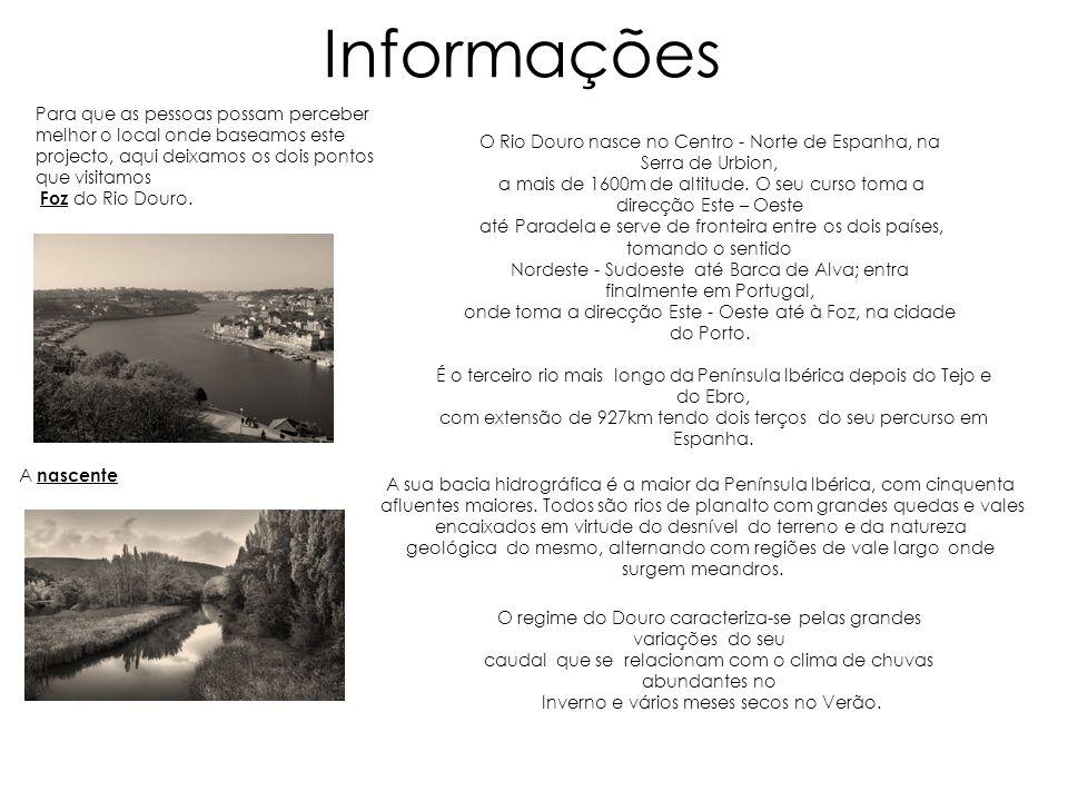 Informações Para que as pessoas possam perceber melhor o local onde baseamos este projecto, aqui deixamos os dois pontos que visitamos Foz do Rio Dour
