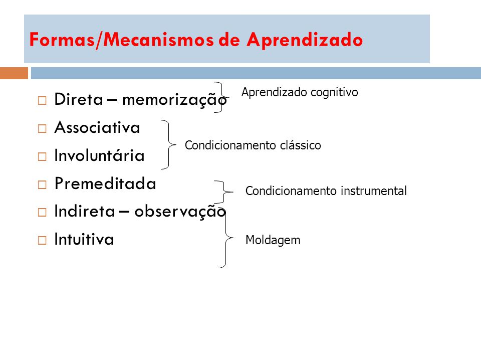 Formas/Mecanismos de Aprendizado Direta – memorização Associativa Involuntária Premeditada Indireta – observação Intuitiva Aprendizado cognitivo Moldagem Condicionamento clássico Condicionamento instrumental