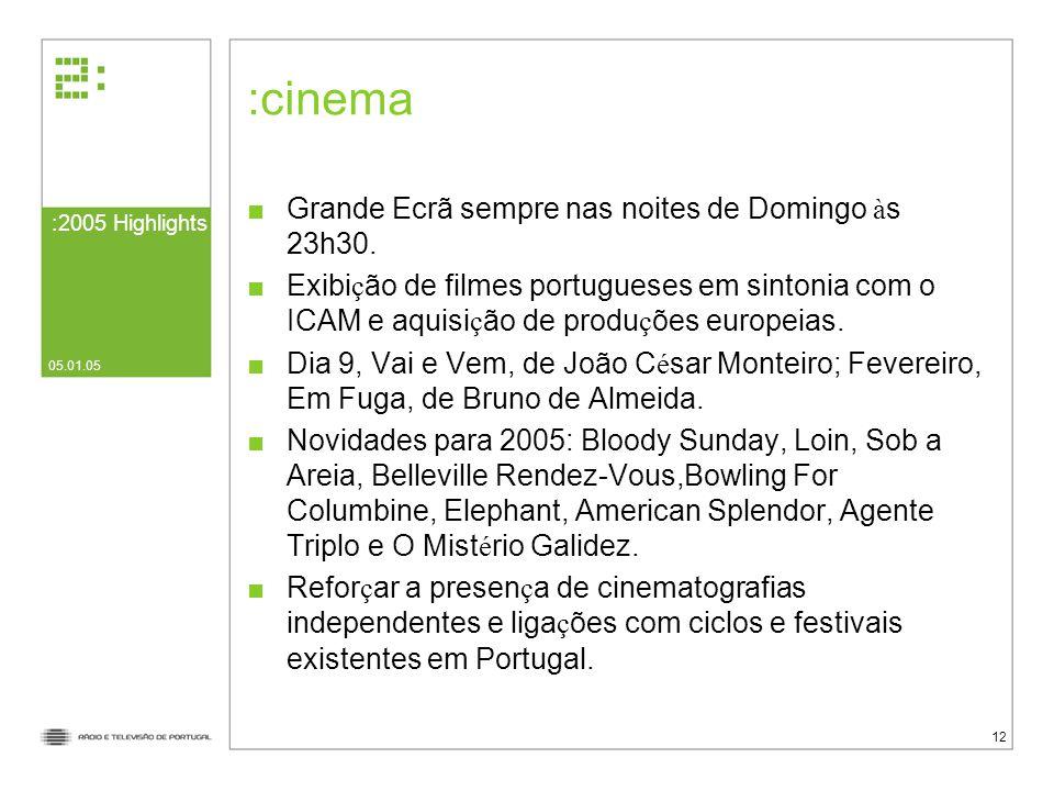 :2005 Highlights 05.01.05 12 cinema Grande Ecrã sempre nas noites de Domingo à s 23h30.