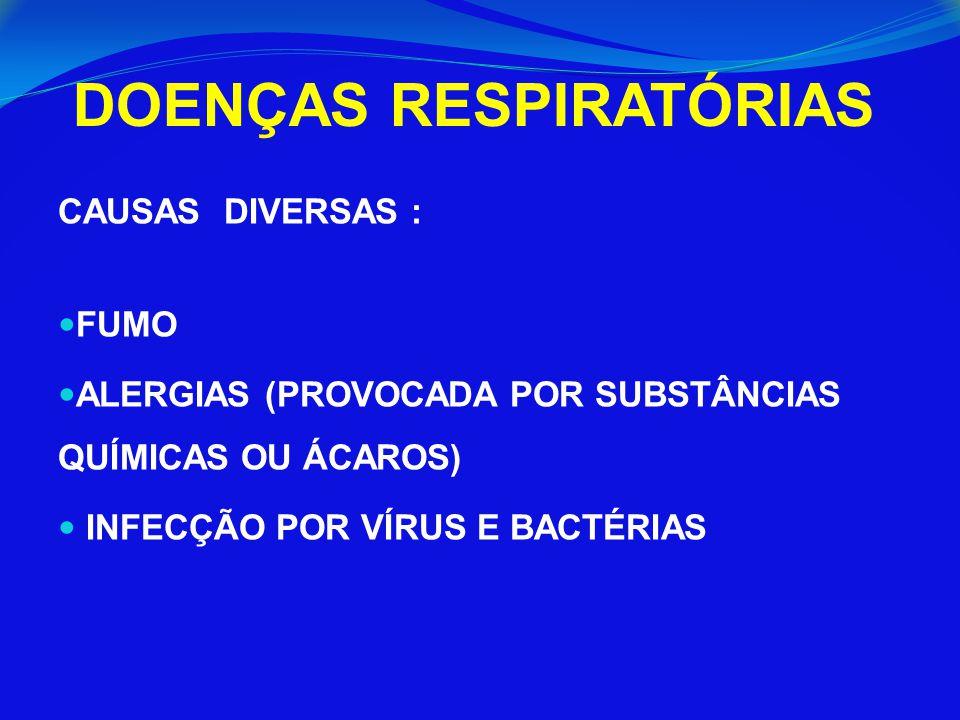 DOENÇAS RESPIRATÓRIAS CAUSAS DIVERSAS : FUMO ALERGIAS (PROVOCADA POR SUBSTÂNCIAS QUÍMICAS OU ÁCAROS) INFECÇÃO POR VÍRUS E BACTÉRIAS