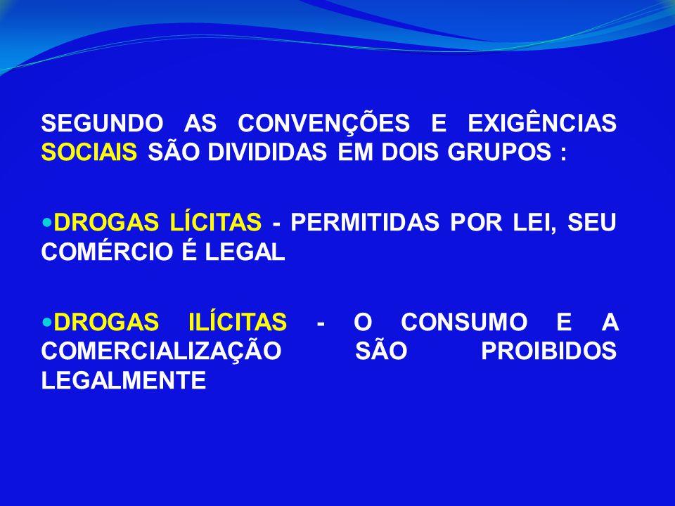 SEGUNDO AS CONVENÇÕES E EXIGÊNCIAS SOCIAIS SÃO DIVIDIDAS EM DOIS GRUPOS : DROGAS LÍCITAS - PERMITIDAS POR LEI, SEU COMÉRCIO É LEGAL DROGAS ILÍCITAS -