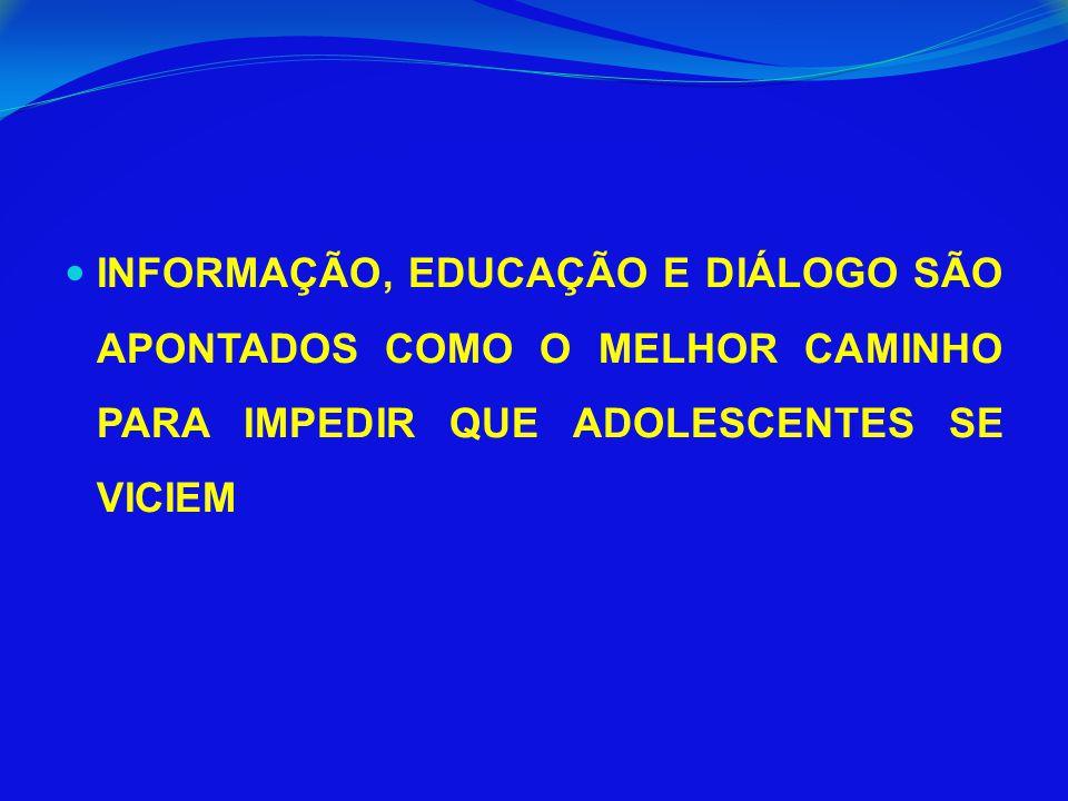 INFORMAÇÃO, EDUCAÇÃO E DIÁLOGO SÃO APONTADOS COMO O MELHOR CAMINHO PARA IMPEDIR QUE ADOLESCENTES SE VICIEM