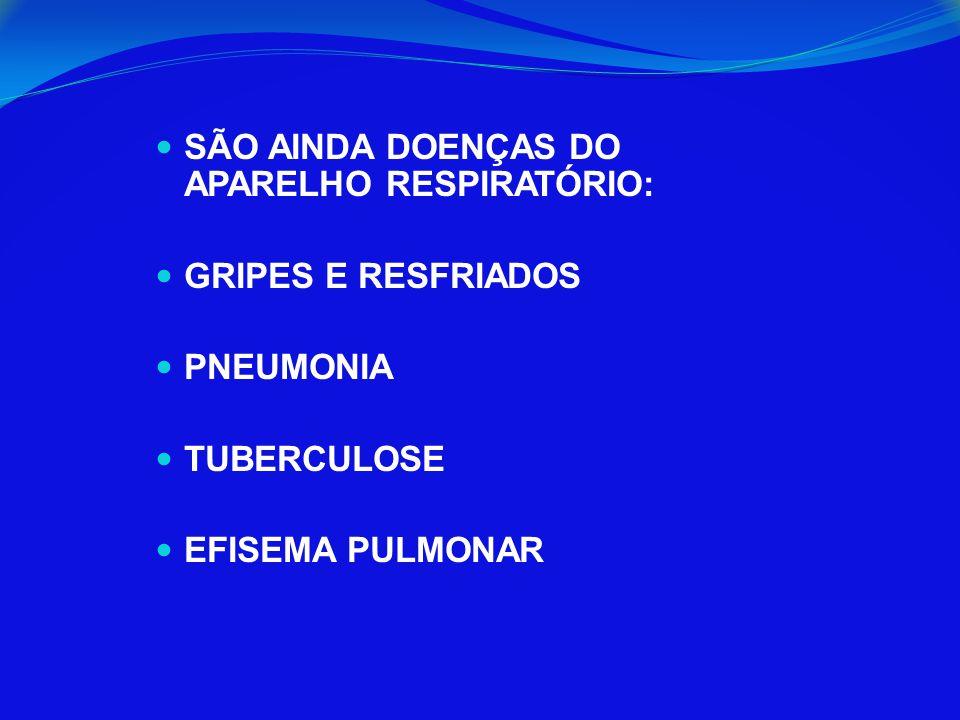 SÃO AINDA DOENÇAS DO APARELHO RESPIRATÓRIO: GRIPES E RESFRIADOS PNEUMONIA TUBERCULOSE EFISEMA PULMONAR
