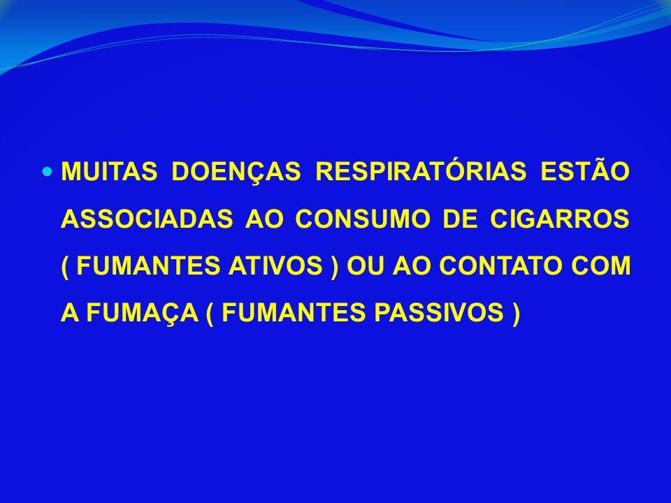 MUITAS DOENÇAS RESPIRATÓRIAS ESTÃO ASSOCIADAS AO CONSUMO DE CIGARROS ( FUMANTES ATIVOS ) OU AO CONTATO COM A FUMAÇA ( FUMANTES PASSIVOS )