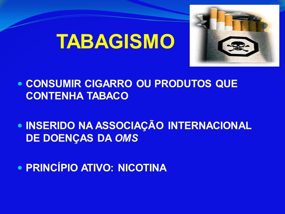 CONSUMIR CIGARRO OU PRODUTOS QUE CONTENHA TABACO INSERIDO NA ASSOCIAÇÃO INTERNACIONAL DE DOENÇAS DA OMS PRINCÍPIO ATIVO: NICOTINA TABAGISMO
