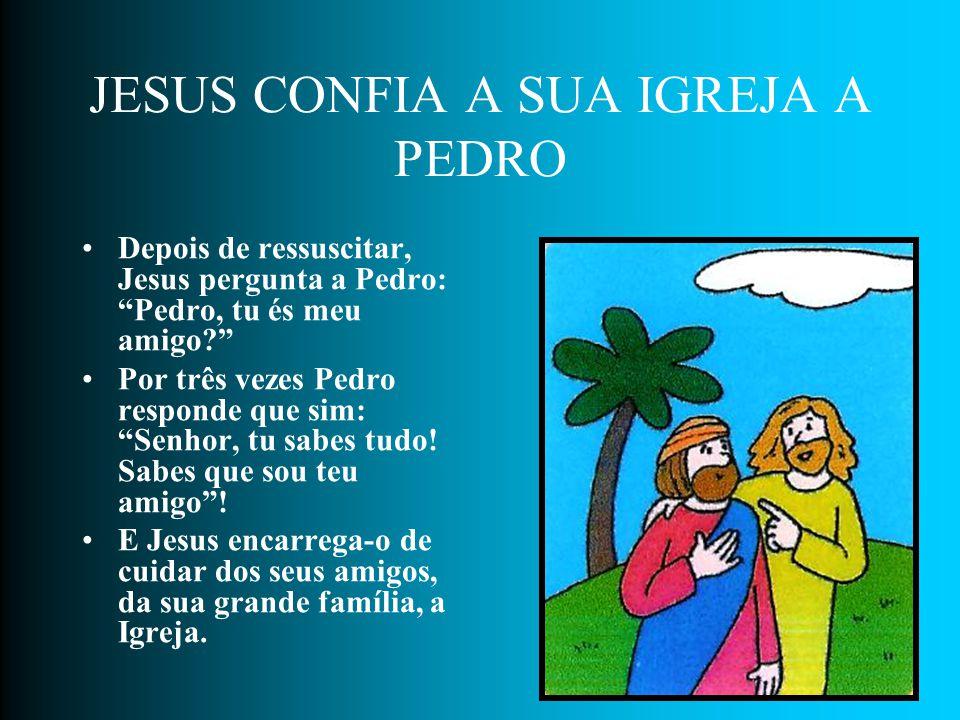 PEDRO TEM MEDO No pátio uma mulher reconhece Pedro. Mas ele, cheio de medo, por três vezes nega ser amigo de Jesus. Depois sai do pátio e chora, muito