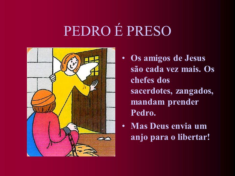 JESUS ENVIA O ESPÍRITO SANTO Depois de receberem o Espírito Santo, enviado por Jesus, os apóstolos ficam cheios de coragem. Com Pedro à frente, começa
