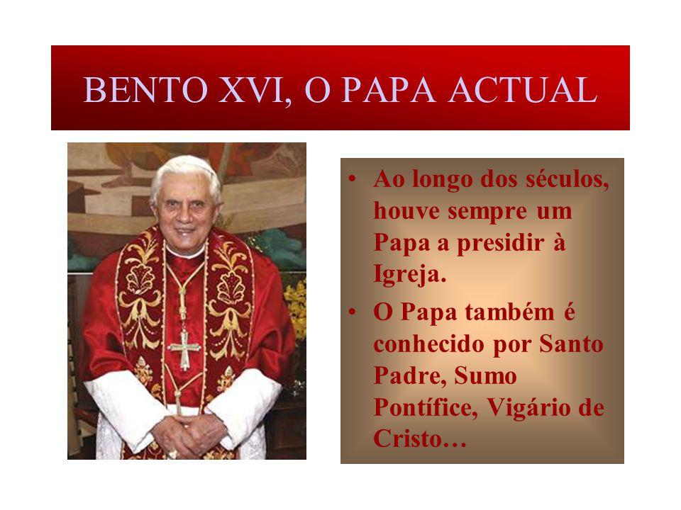 O PRIMEIRO PAPA Encarregado por Jesus de velar pela Igreja que começava a existir, Pedro foi o primeiro Papa. A palavra Papa quer dizer Pai.