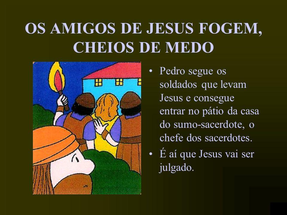 JESUS É PRESO Quando Jesus é preso, Pedro puxa de uma espada e fere um soldado. Mas Jesus cura o soldado ferido e diz a Pedro que não é pela violência