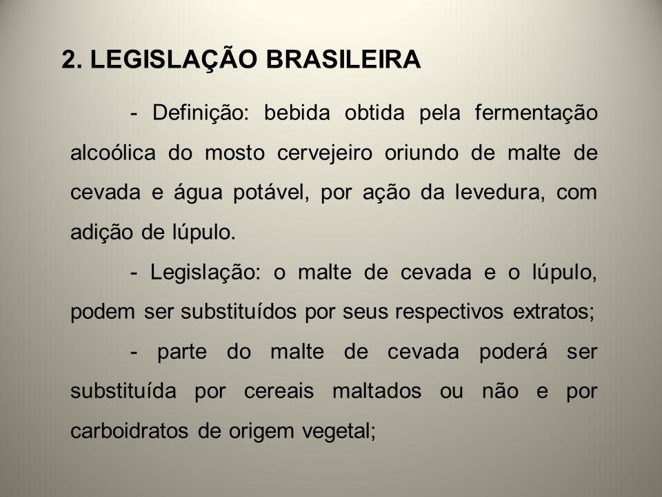 2. LEGISLAÇÃO BRASILEIRA - Definição: bebida obtida pela fermentação alcoólica do mosto cervejeiro oriundo de malte de cevada e água potável, por ação