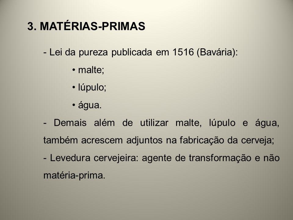 3. MATÉRIAS-PRIMAS - Lei da pureza publicada em 1516 (Bavária): malte; lúpulo; água. - Demais além de utilizar malte, lúpulo e água, também acrescem a
