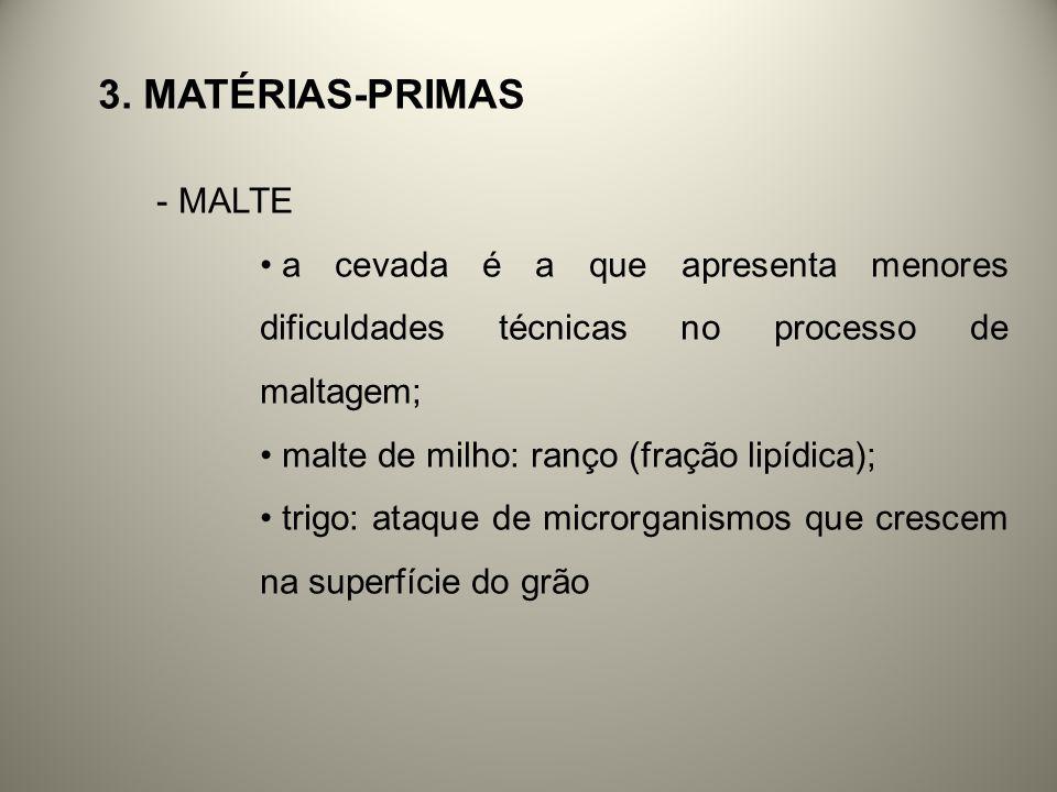 3. MATÉRIAS-PRIMAS - MALTE a cevada é a que apresenta menores dificuldades técnicas no processo de maltagem; malte de milho: ranço (fração lipídica);