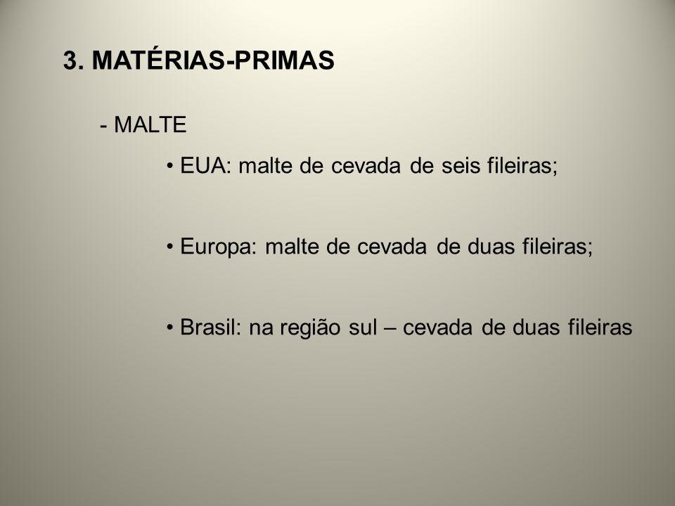 3. MATÉRIAS-PRIMAS - MALTE EUA: malte de cevada de seis fileiras; Europa: malte de cevada de duas fileiras; Brasil: na região sul – cevada de duas fil