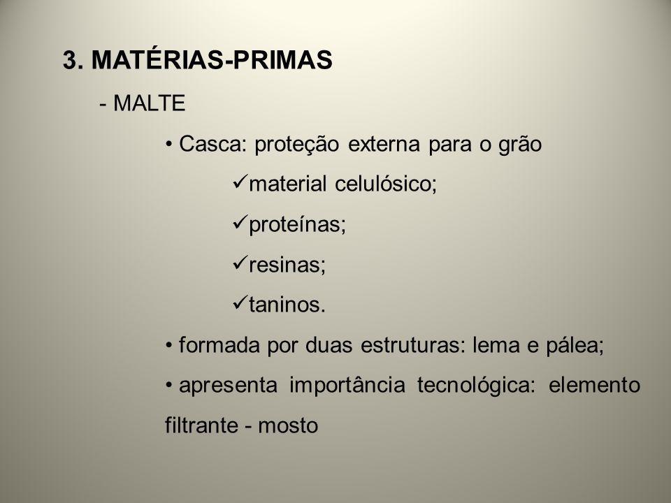 3. MATÉRIAS-PRIMAS - MALTE Casca: proteção externa para o grão material celulósico; proteínas; resinas; taninos. formada por duas estruturas: lema e p