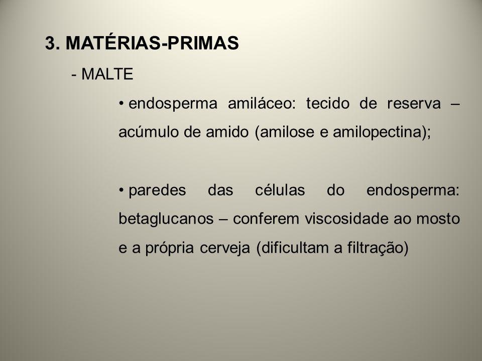3. MATÉRIAS-PRIMAS - MALTE endosperma amiláceo: tecido de reserva – acúmulo de amido (amilose e amilopectina); paredes das células do endosperma: beta