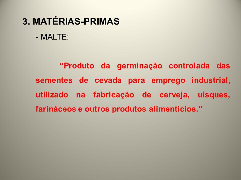 3. MATÉRIAS-PRIMAS - MALTE: Produto da germinação controlada das sementes de cevada para emprego industrial, utilizado na fabricação de cerveja, uísqu