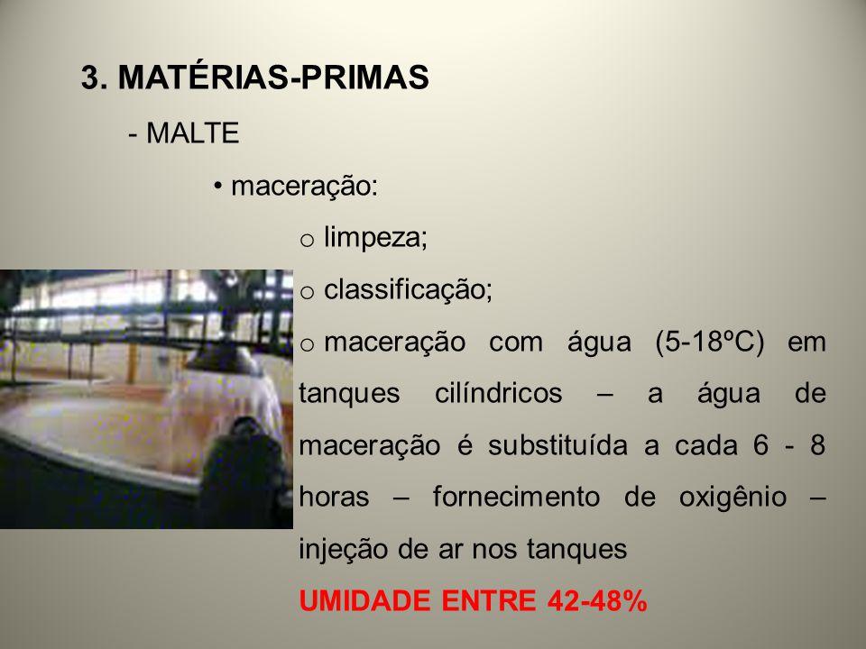 3. MATÉRIAS-PRIMAS - MALTE maceração: o limpeza; o classificação; o maceração com água (5-18ºC) em tanques cilíndricos – a água de maceração é substit